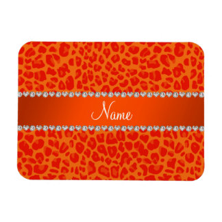 Personalized name orange leopard pattern rectangular magnet