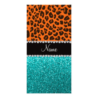 Personalized name orange leopard turquoise glitter picture card