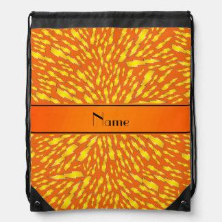 Personalized name orange lightning bolts drawstring bags