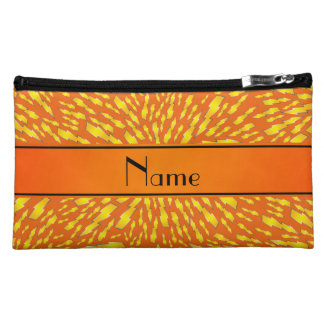 Personalized name orange lightning bolts makeup bags