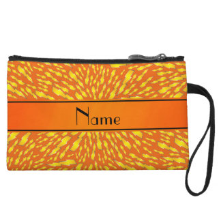 Personalized name orange lightning bolts wristlet clutches