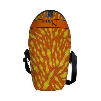 Personalized name orange lightning bolts courier bag