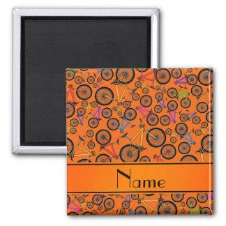 Personalized name orange mountain bikes fridge magnet