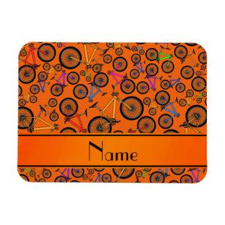 Personalized name orange mountain bikes magnets