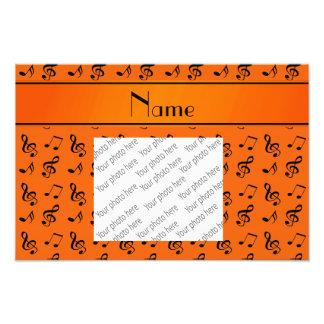 Personalized name orange music notes photo