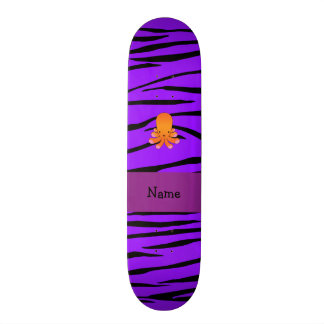 Personalized name orange octopus purple zebra skateboard