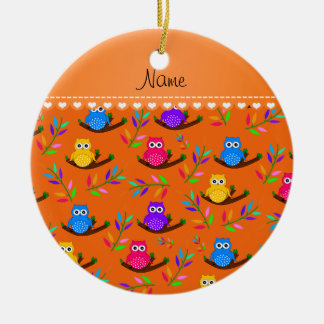 Personalized name orange owl branches leaves round ceramic decoration