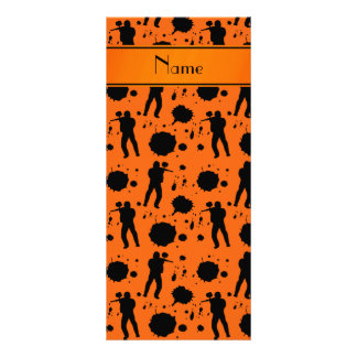 Personalized name orange paintball pattern 10 cm x 23 cm rack card
