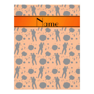 Personalized name orange paintball pattern 21.5 cm x 28 cm flyer