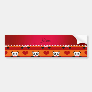 Personalized name orange panda red heart stripes bumper sticker