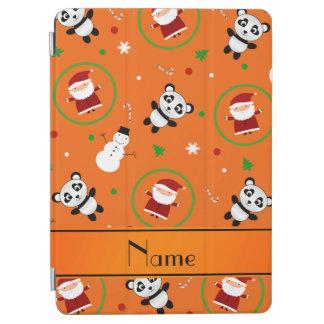 Personalized name orange panda santas christmas iPad air cover