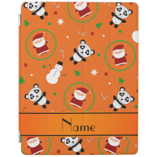 Personalized name orange panda santas christmas iPad cover