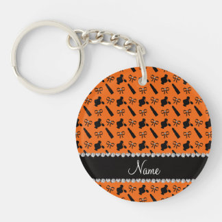 Personalized name orange perfume lipstick bows acrylic key chains