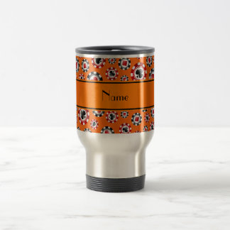 Personalized name orange poker chips stainless steel travel mug