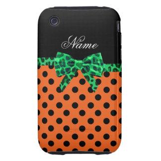 Personalized name orange polka dots green bow iPhone 3 tough case