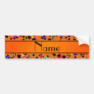 Personalized name orange race car pattern bumper stickers