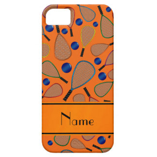 Personalized name orange racquet balls pattern iPhone 5 case