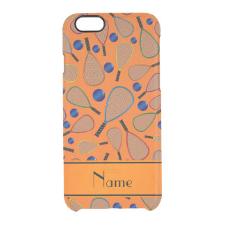 Personalized name orange racquet balls pattern uncommon clearly™ deflector iPhone 6 case