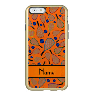 Personalized name orange racquet balls pattern incipio feather® shine iPhone 6 case