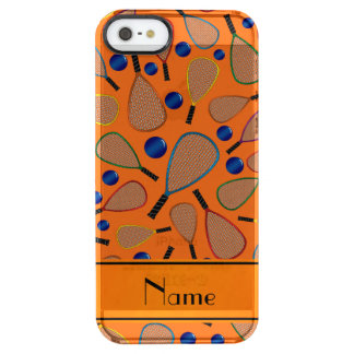 Personalized name orange racquet balls pattern uncommon clearly™ deflector iPhone 5 case