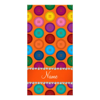 Personalized name orange rainbow buttons pattern photo cards