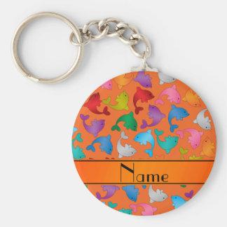 Personalized name orange rainbow dolphins basic round button key ring