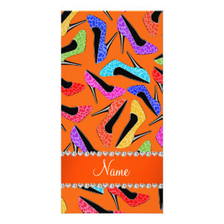 Personalized name orange rainbow leopard high heel personalized photo card