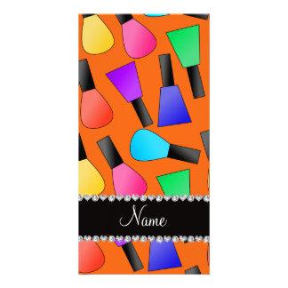 Personalized name orange rainbow nail polish photo card