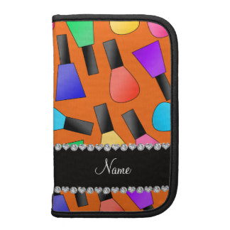 Personalized name orange rainbow nail polish planner