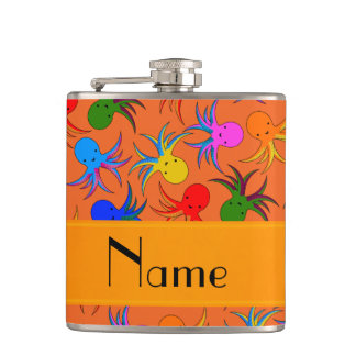 Personalized name orange rainbow octopus hip flask