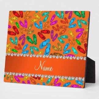 Personalized name orange rainbow sandals plaque