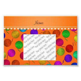 Personalized name orange rainbow yarn balls art photo