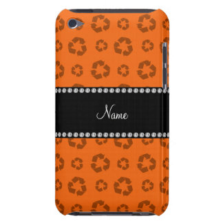 Personalized name orange recycling pattern iPod Case-Mate cases