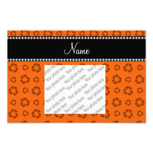 Personalized name orange recycling pattern photo
