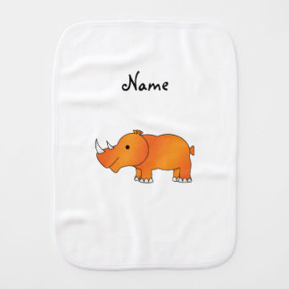 Personalized name orange rhino burp cloth
