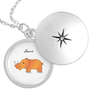 Personalized name orange rhino round locket necklace