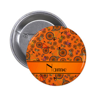 Personalized name orange road bikes 6 cm round badge