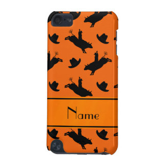 Personalized name orange rodeo bull riding pattern iPod touch 5G case