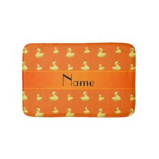 Personalized name orange rubber duck pattern bath mat