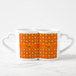 Personalized name orange rubber duck pattern lovers mug