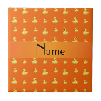 Personalized name orange rubber duck pattern small square tile