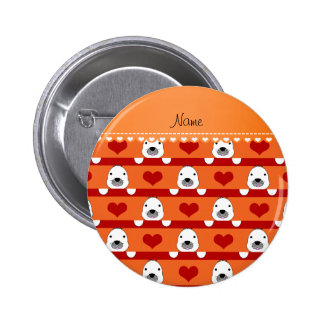 Personalized name orange seals red hearts stripes 6 cm round badge