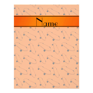 Personalized name orange skateboard pattern 21.5 cm x 28 cm flyer