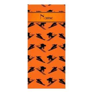 Personalized name orange ski pattern custom rack cards