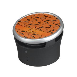 Personalized name orange skydiving pattern bluetooth speaker