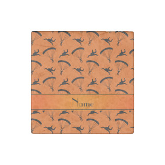 Personalized name orange skydiving pattern stone magnet