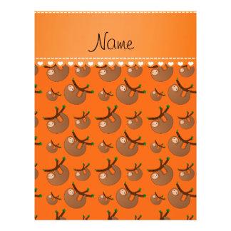 Personalized name orange sloth pattern 21.5 cm x 28 cm flyer
