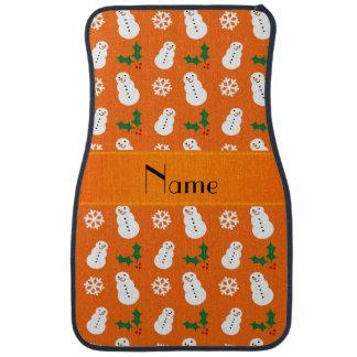 Personalized name orange snowman christmas car mat
