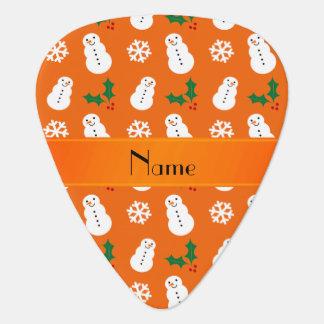 Personalized name orange snowman christmas pick