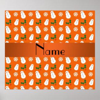 Personalized name orange snowman christmas print